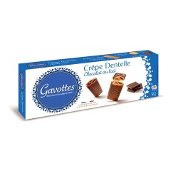 Gavottes sausainiai Crêpes Dentelles su pienišku šokoladu