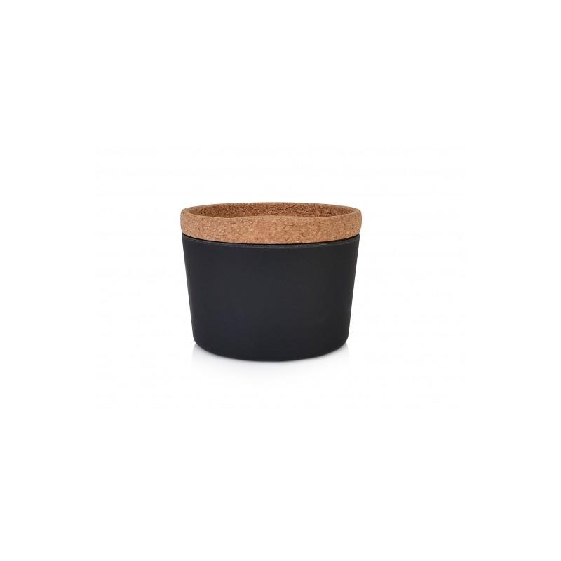 Anglies juodumo bambuko indas su kamštiniu dangteliu