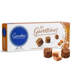 Trapūs Gavottines sausainukai su pienišku šokoladu, Crêpe Dentelle pabarstukais ir karamele