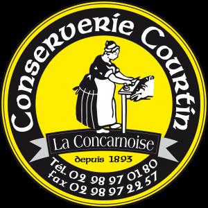 Courtin seniausias Konkarno konservų fabrikas logotipas autentišas seniausia bretanėje