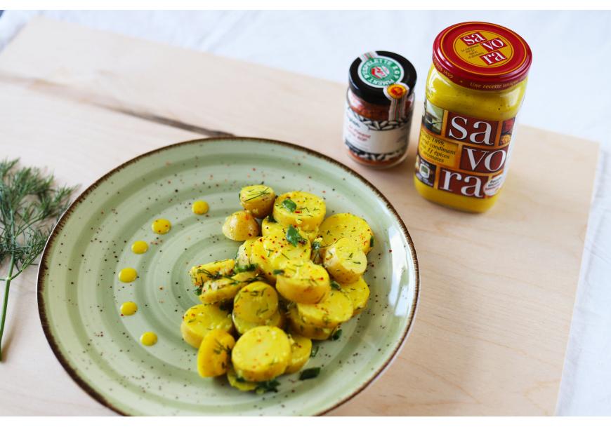 Gaivios bulvių salotos su garstyčių vinaigrette
